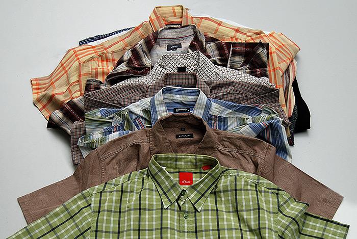 Наша сортировка  секонд хенд рубашки с коротким рукавом