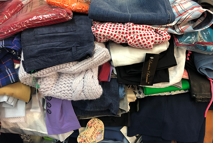 Clothes mix winter-summer of different sizes